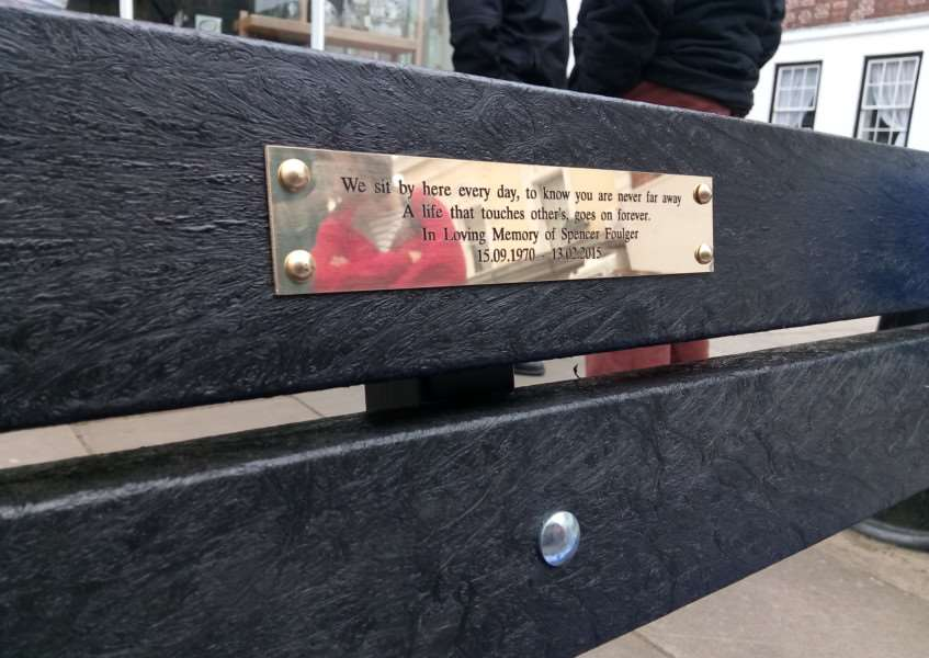 A memorial bench has been officially unveiled, in memory of resident Spencer Foulger. Photo: Zach Ward