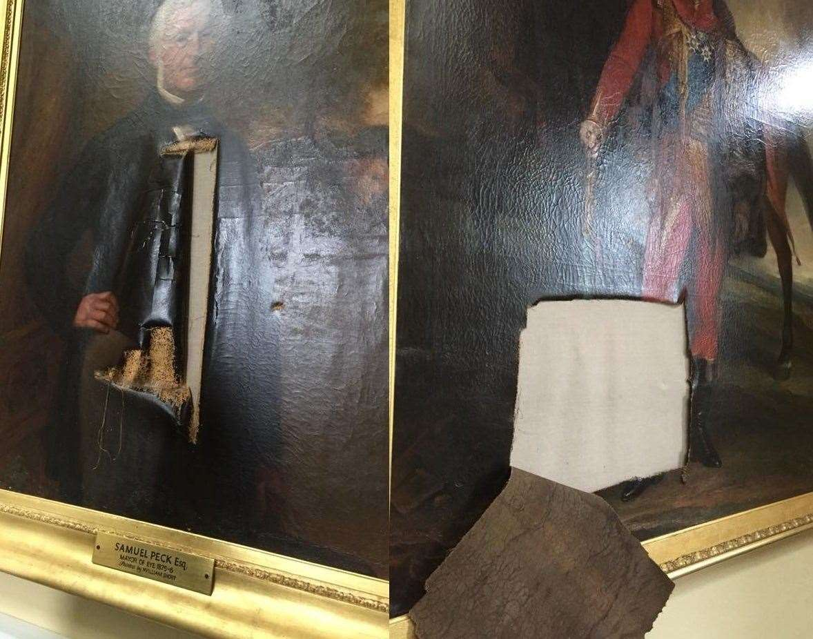 Damage to the paintings at Eye Town hall