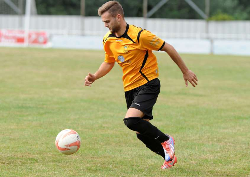 ON THE MOVE: Ben Licence - pictured playing for Stowmarket - has left Debenham