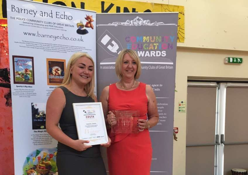 Valerie Jones (right), headteacher at both Dennington and Charsfield Primary Schools, was presented with an award for her work since the schools became federated in September 2014. Submitted photo.