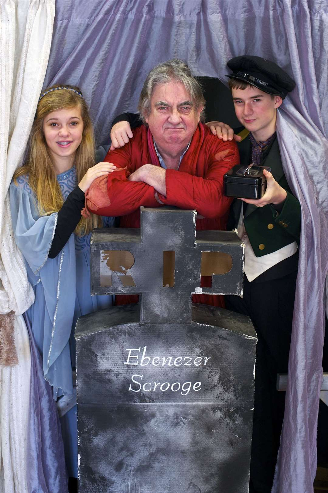 Leslie Dumbell when he performed in a Christmas Carol, with Libby Goldspink and Matthew Clark