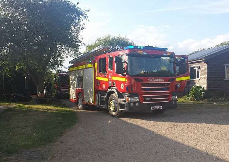 Norfolk Fire and Rescue Service were called to an outbuilding fire at East Harling's Feline Care Cat Rescue on Friday night. Submitted photo. ANL-161007-155109001