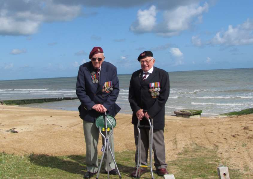 Ted Bootle (left) and Alan King (right) at the beaches of Normandy in France.