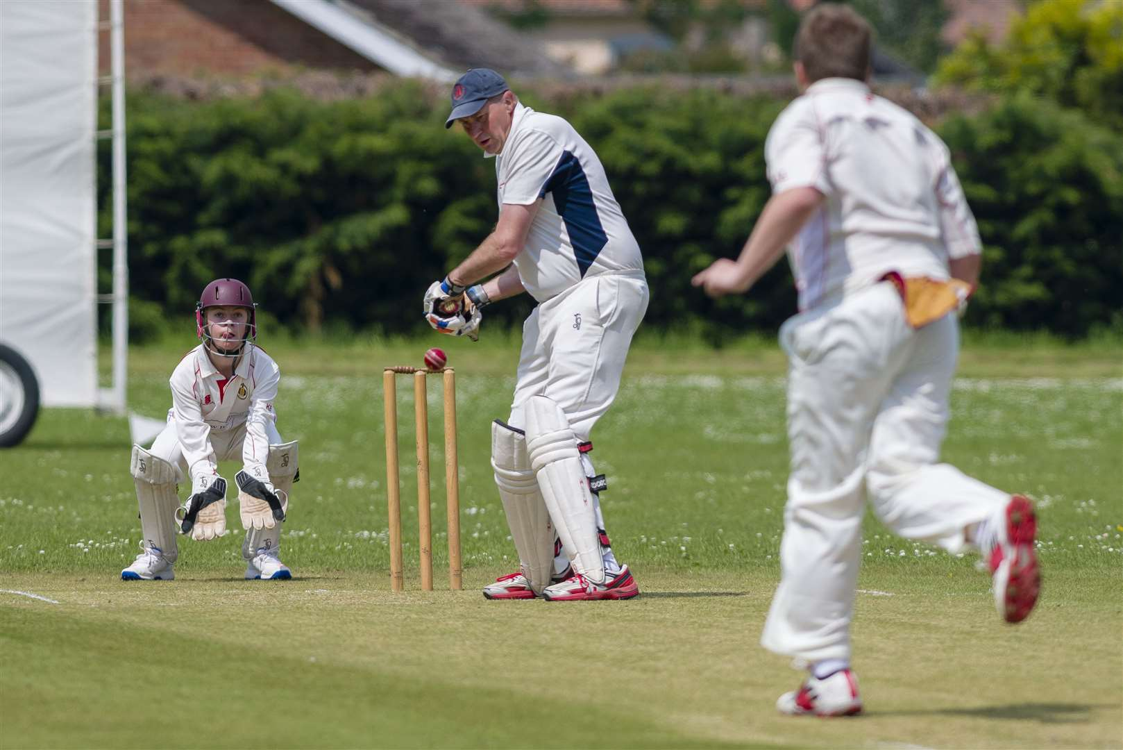 Stradbroke, Suffolk. Cricket action from Stradbroke vs Stowmarket II - Stradbroke in Bat - Michael Hugman. ..Picture: Mark Bullimore Photography. (34721369)