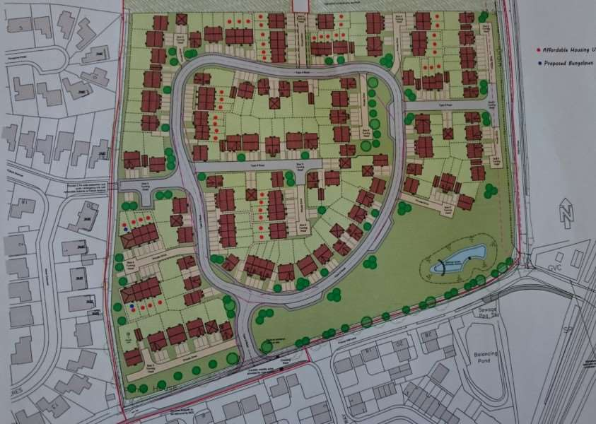 The proposed layout for a 136 homes plan in Frenze Hall Lane, Diss.
