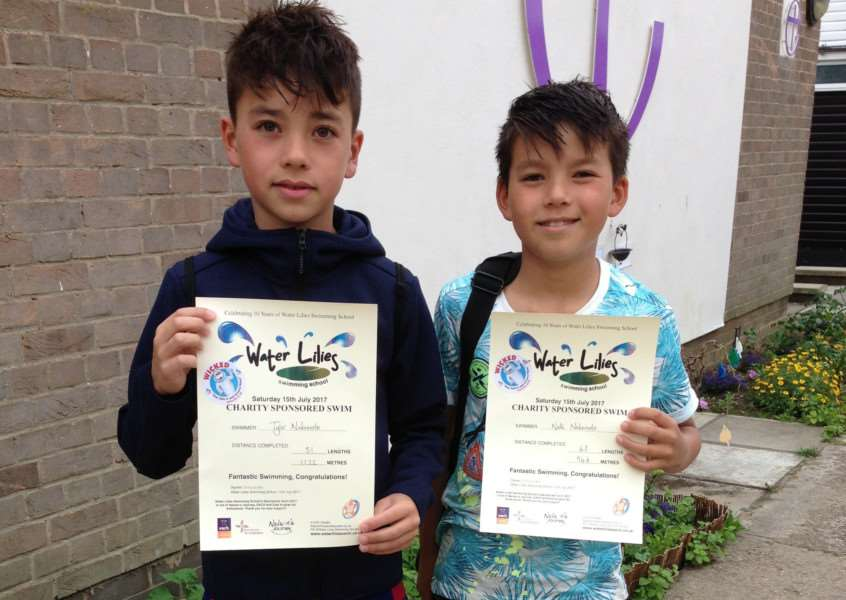 Children at Water Lillies Swimming School have raised over �1,000 for three local charities.