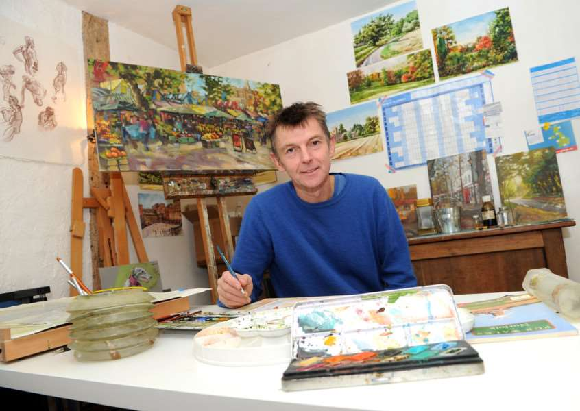 "Robert Nelmes, an artist of Roydon, won the 'Best Freestyle Painting�"" Award at Paintout Norwich ANL-161130-145235009"