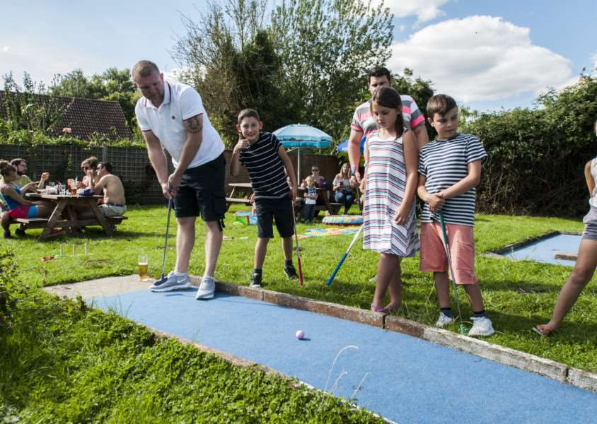 King's Head pub, North Lopham, A family fun day is happening, centered around a cheque presentation. The pool team has helped raise money for The Big C after Nelia Eagle was diagnosed with cancer. They wore pink t shirts and have been collecting money at their games.