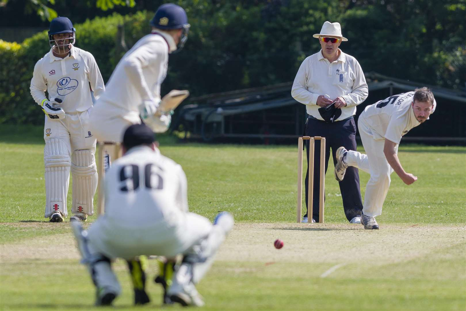 Diss, Norfolk. Cricket action from Diss vs Stow - Diss Bowling - Dan Taylor...Picture: Mark Bullimore Photography. (2239339)