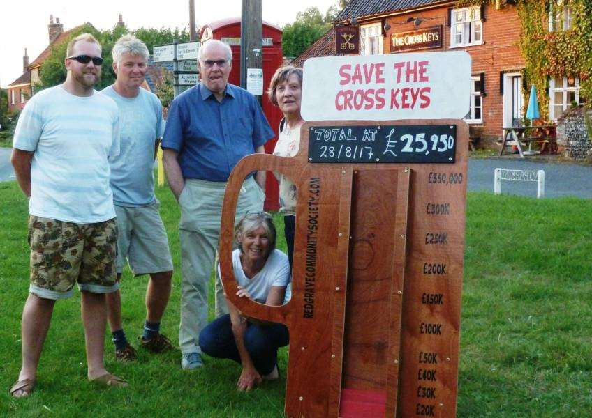 The management committee of the Redgrave Community Society Ltd.: Andy Barber, Neil Smith, Andrew Dickson, Julie Moore and Fiona Kenworthy around the pubometer. Picture: submitted.