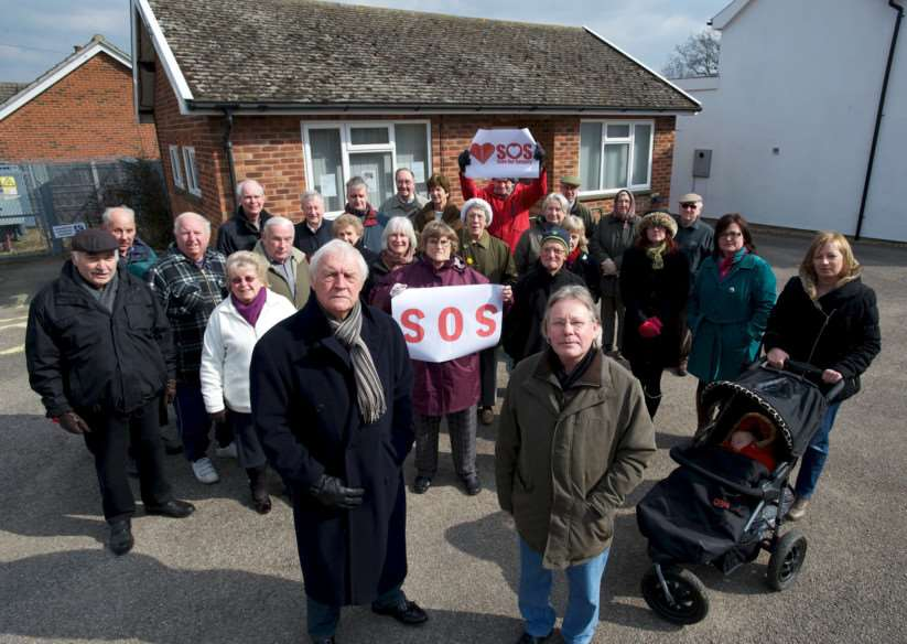 Dickleburgh, Norfolk. Protest about the proposed closure of the Doctor's Surgery in Dickleburgh pictured front are Terry Clarkson and Patrick Marney ENGANL00120130327143158