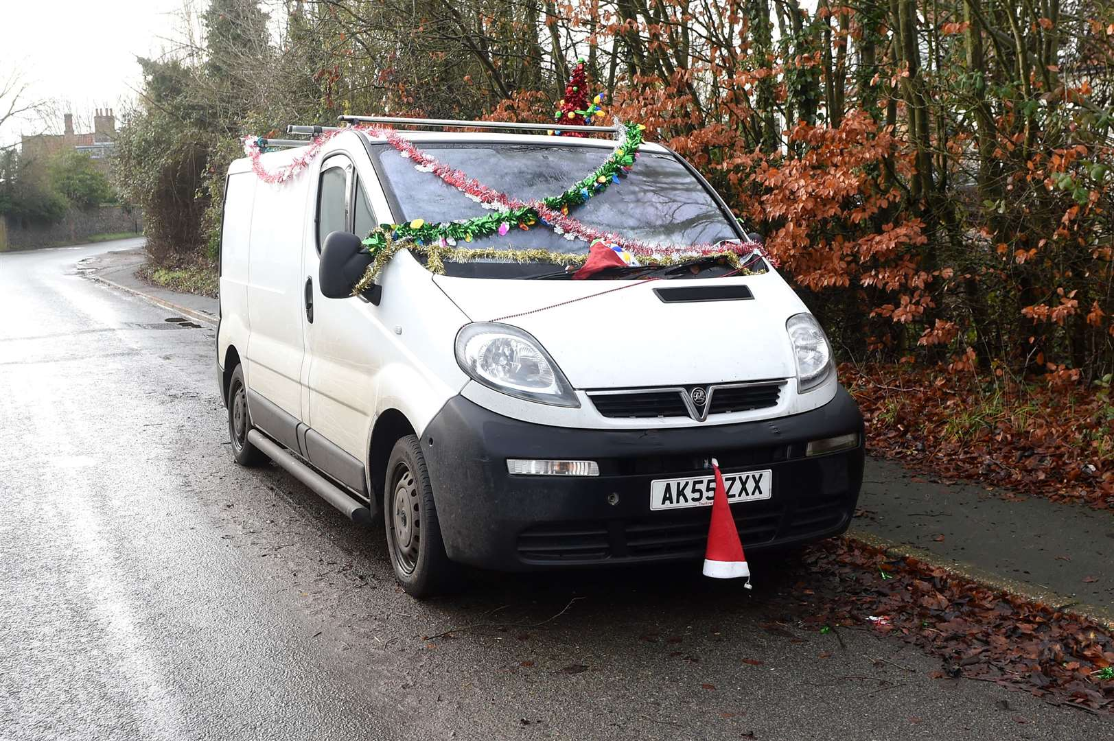 The decorated Vauxhall van that is parked in Banham Road, Kenninghall. Picture by Mecha Morton.