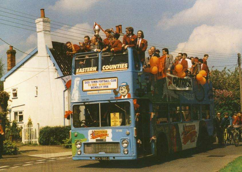 Memory Lane - Diss celebrates the FA Vase success of 1994. Pictures supplied by Dennis Cross. ANL-160405-092915001