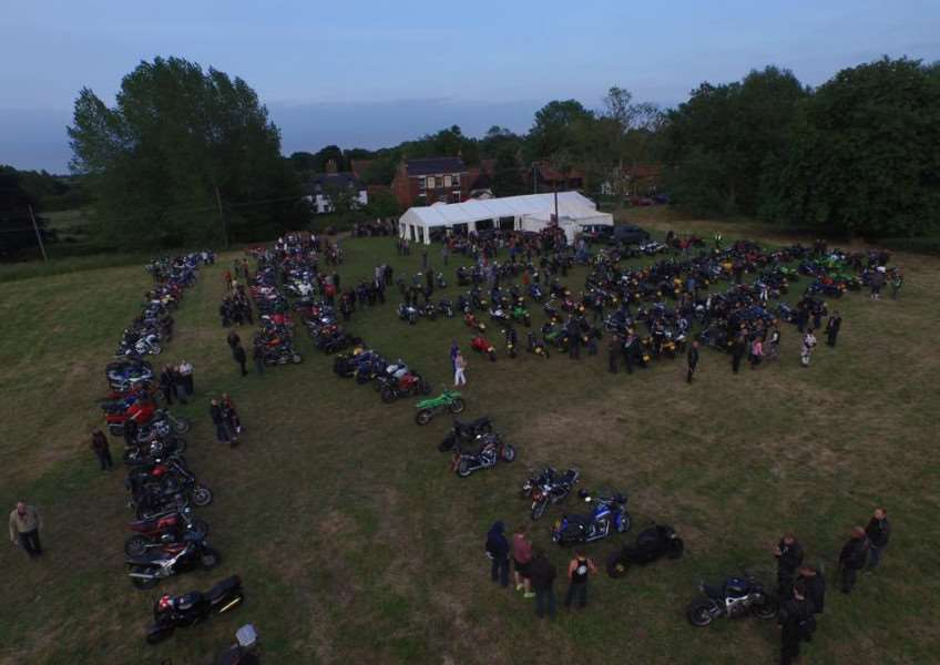 Imgaes from the Old Buckenham 365 project. An aerial shot of 2 Wheel Tuesday, held at The Ox and Plough. ANL-160501-140101001
