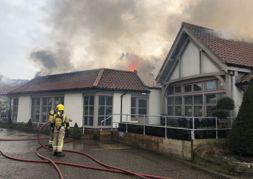 Sixty firefighters tackled a blaze at The Breckland Lodge. Pictures: Norfolk Fire and Rescue.