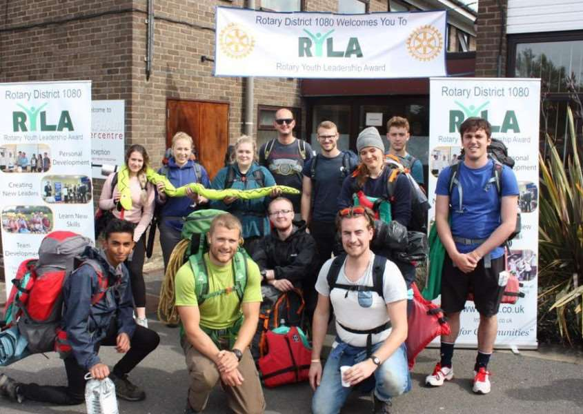 Sophie Foreman, third from left on back row, with the rest of her team before setting out on the overnight hike
