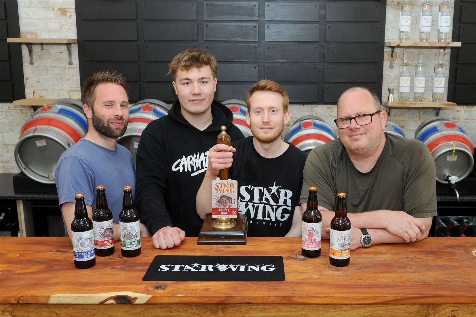 Star Wing Brewery has submitted an application for an outdoor theatre. Pictured: Adam Chandler, Alfie Brydon, David Upton and Mark Duxon. Picture by Mecha Morton.