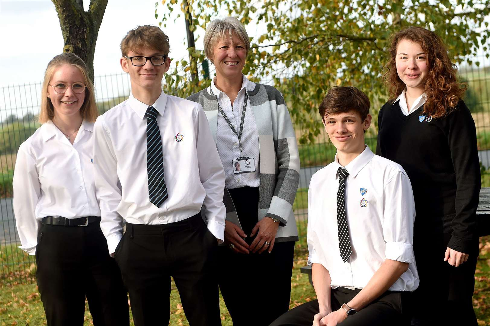 Debenham High School has come out on top in Progress 8 scores in Suffolk. Pictured are Millie Clark, Alfred Scott, headteacher Julia Upton, Frazer McMyn and Maisy Ward-Jackson. Picture by Mecha Morton.