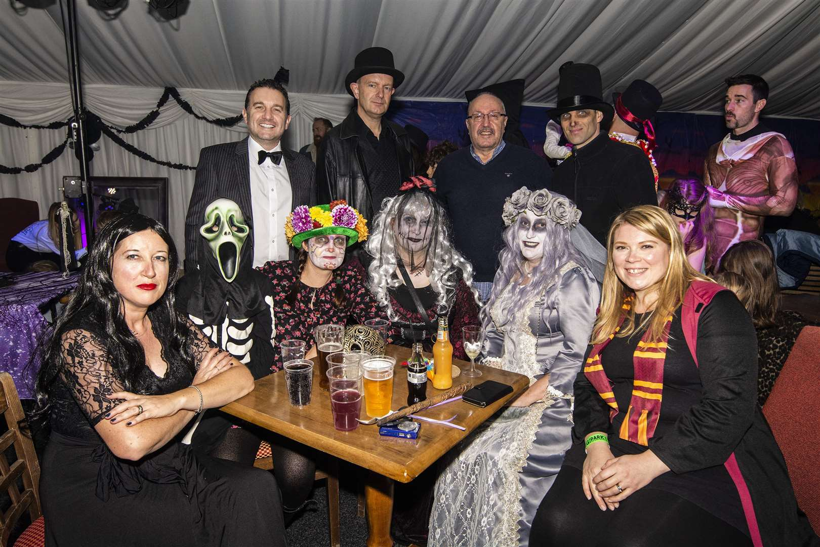 Geoff Dixon, back row third from the left, with a group of spooky revellers during the event. Picture by Al Pulford.
