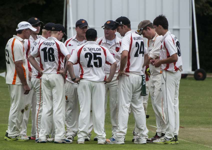 EIGHT IN A ROW: Diss celebrate taking a wicket