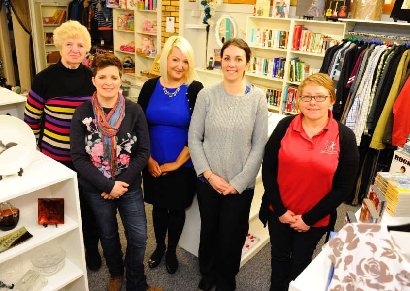 Attleborough, Norfolk. New shop opening for Star Throwers charity in Attleborough pictured from left Norma Buckenham, Angela Simpson, Clare-Marie Griffin, Victoria Pigg and Helen Cozens. Picture: MARK BULLIMORE PHOTOGRAPHY