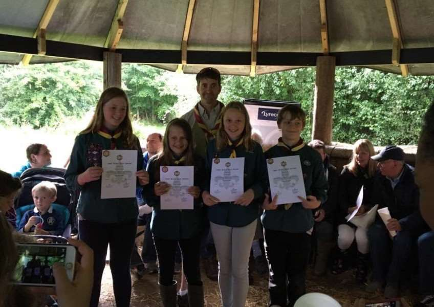 Kenninghall Scouts collect bronze, silver and gold awards at a celebration event earlier this month. Submitted picture.