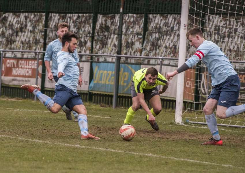 ON TARGET: Tanner Call fires in one of Debenham's three goals