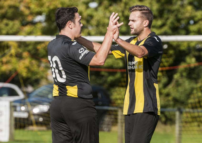 ON FORM: Jack Severy is congratulated after scoring one of his two goals