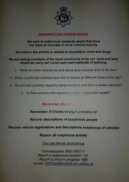 A copy of the letter posted to residents in Roydon. Picture: South Norfolk Police.