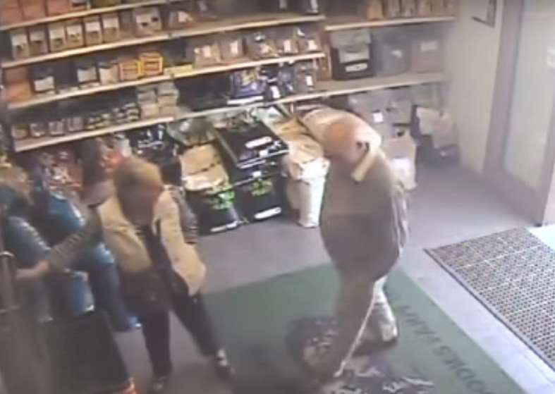 Sylvia and Peter Stuart at Goodies Farm Shop on Wood Lane in Pulham Market at 10:18 on Sunday May 29 and footage has been released. Suffolk Police.