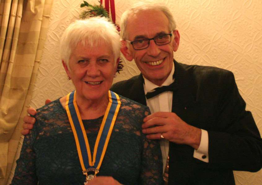 Janet Turner, president of the Rotary Club of Diss Waveney, with Robin Twigge, president of Harleston and District Rotary Club, at the Inaugural Charter Night in the Park Hotel, Diss.