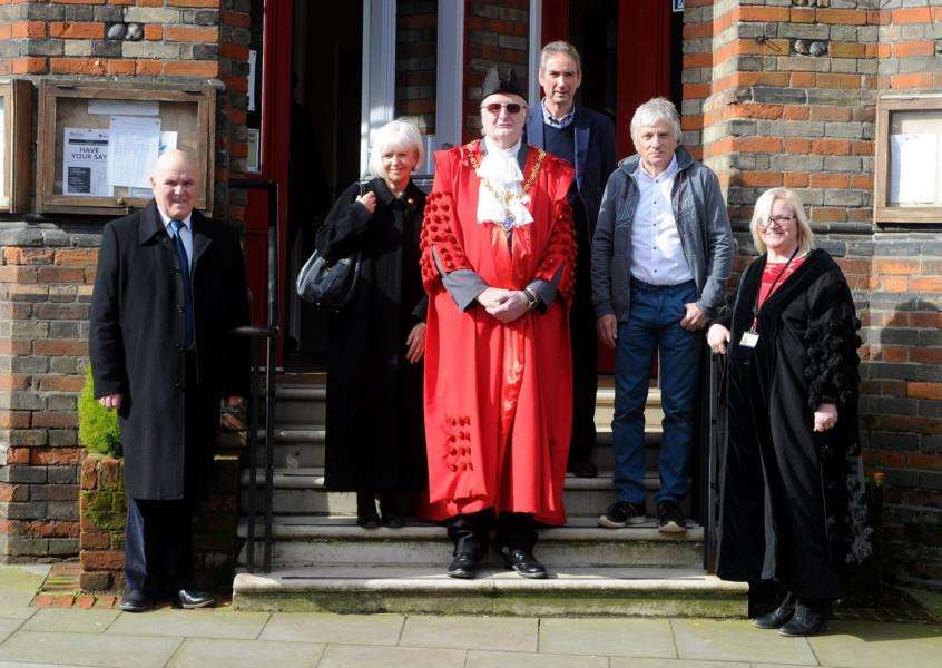 Informal opening of Eye Town Hall. 'Pictured: Deputy Mayor Mike Robins, Cllr Caroline Byles, Mayor of Eye, Colin Ribchester, Cllr Peter Gould, Cllr Richard Berry and Wendy Alcock, town Clerk'''PICTURE: Mecha Morton