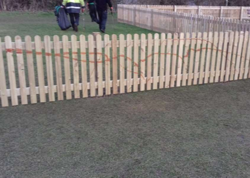 The fence in Gaymers Meadow in Attleborough, Norfolk. Picture: Attleborough Town Council / SWNS.