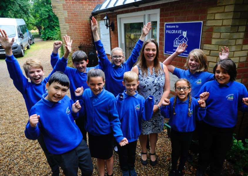 Palgrave Primary School has got an 'outstanding' rating in a church inspection pictured is head teacher Mrs Julia Waters with year 6 pupils. Picture: MARK BULLIMORE
