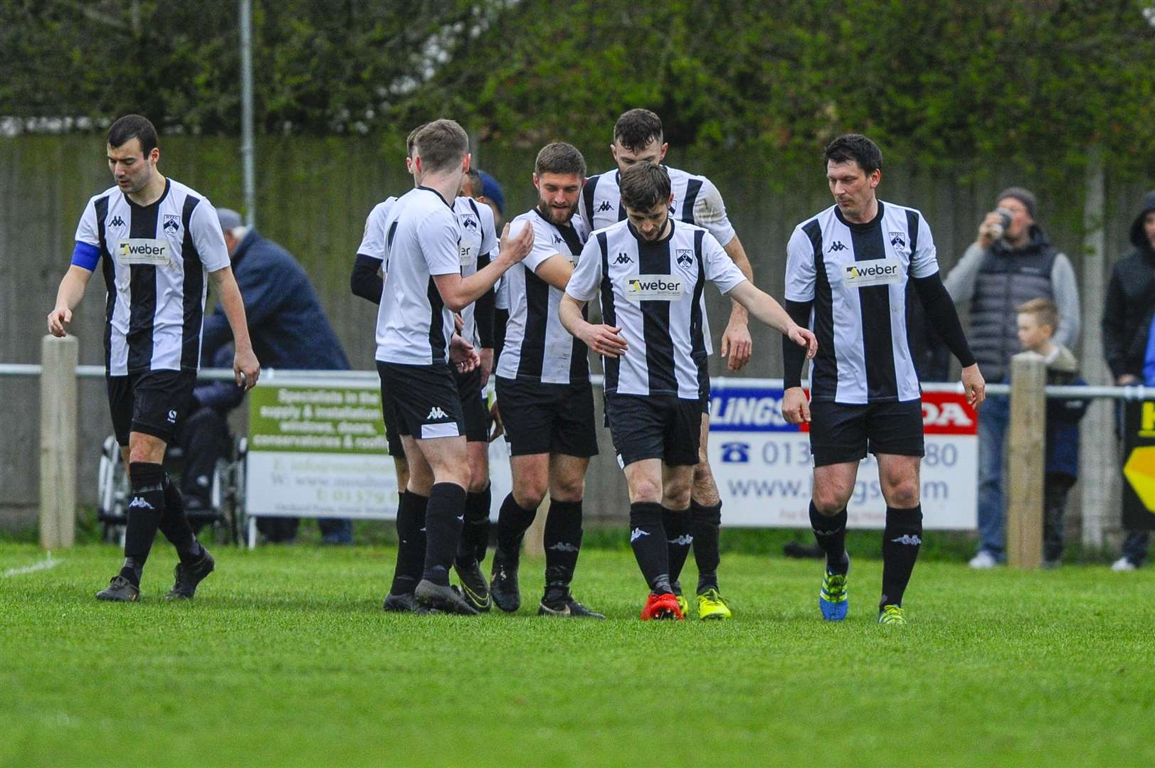 Football action from Harleston Town vs Diss Town FC - Harleston celebrate a goal..Picture: Mark Bullimore Photography. (11521802)