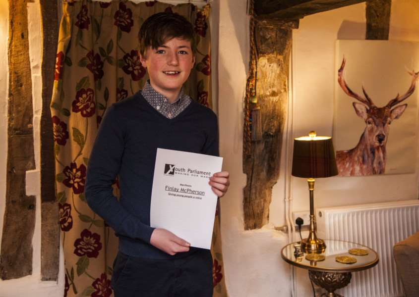 Finlay McPherson,14, standing as a youth politician