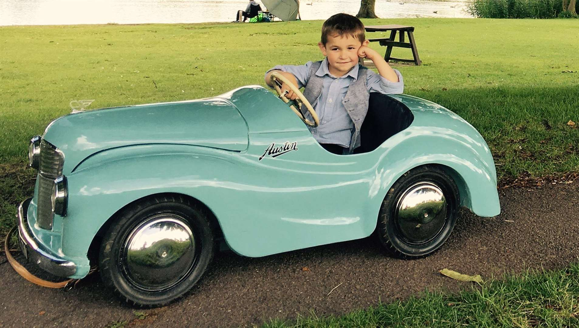 FIVE MINUTES OF FAME: Joshua Vincent and his Austin J40 pedal car.