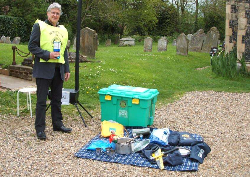 Rotary Club of High Suffolk collects money in Debenham to go towards ShelterBox disaster relief in Nepal.