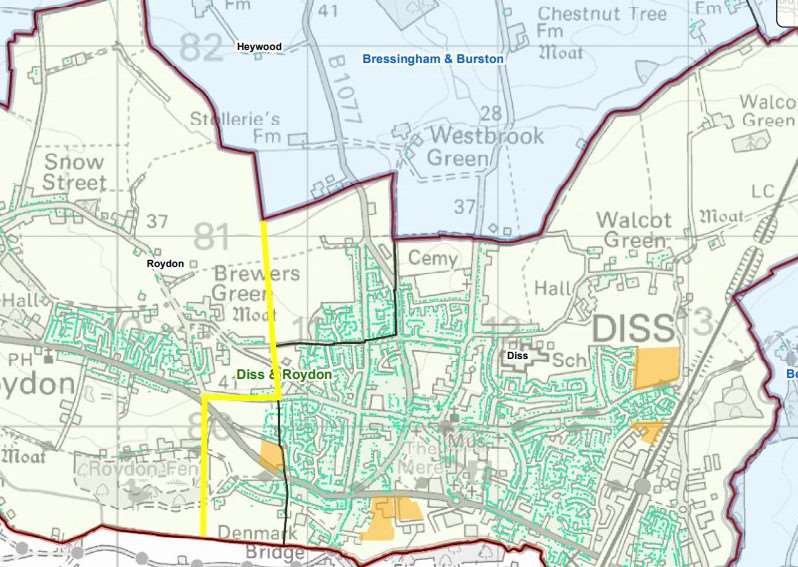 The proposed boundary changes, for Diss and Roydon, in yellow. Image: South Norfolk Council.