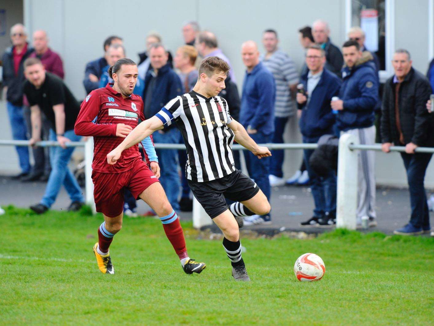 ALL SQUARE: Thetford and Long Melford played out a 1-1 draw. Picture: Mark Bullimore