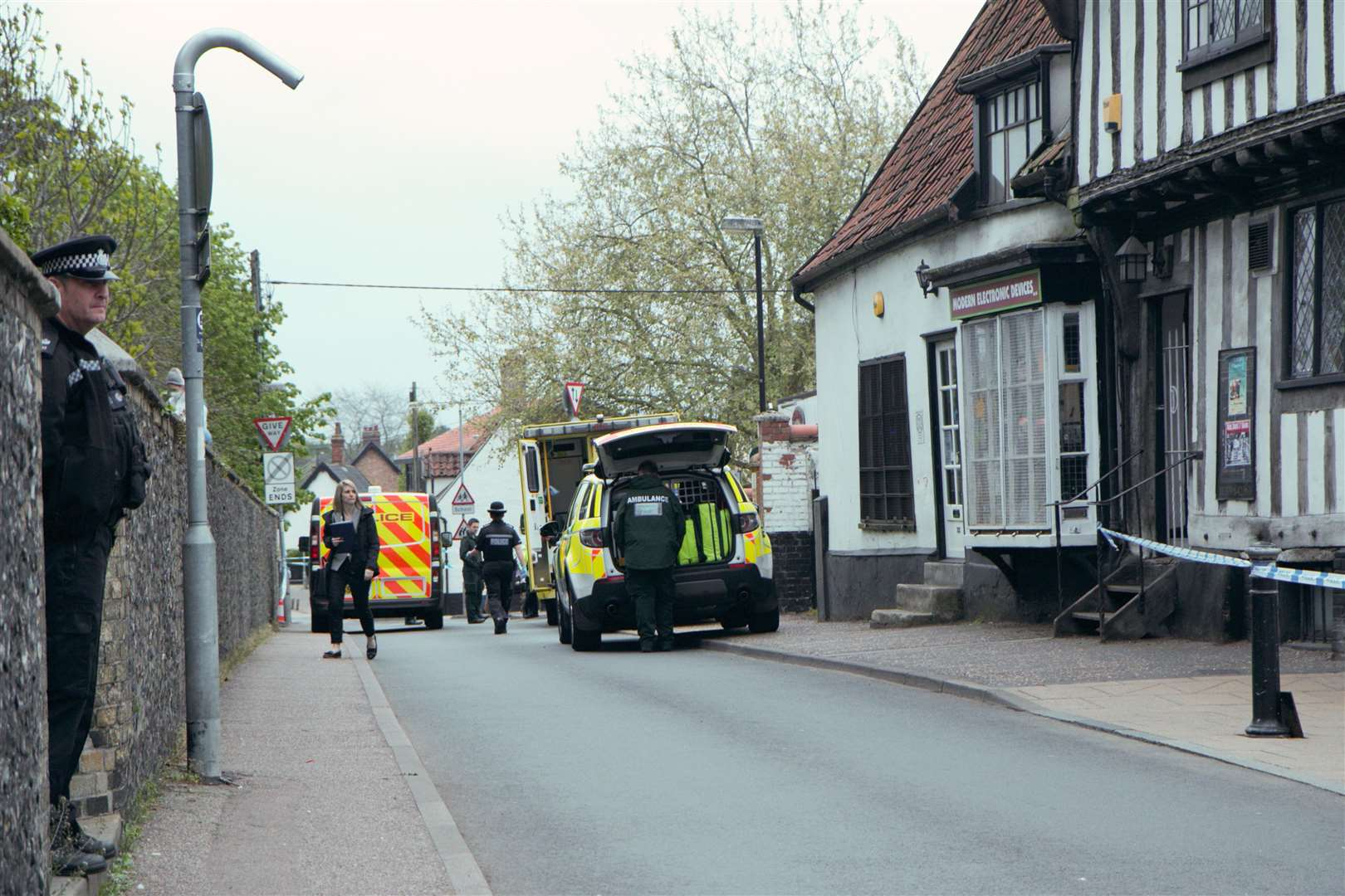 Police at the scene of of the incident this morning. Picture: Chris Morris