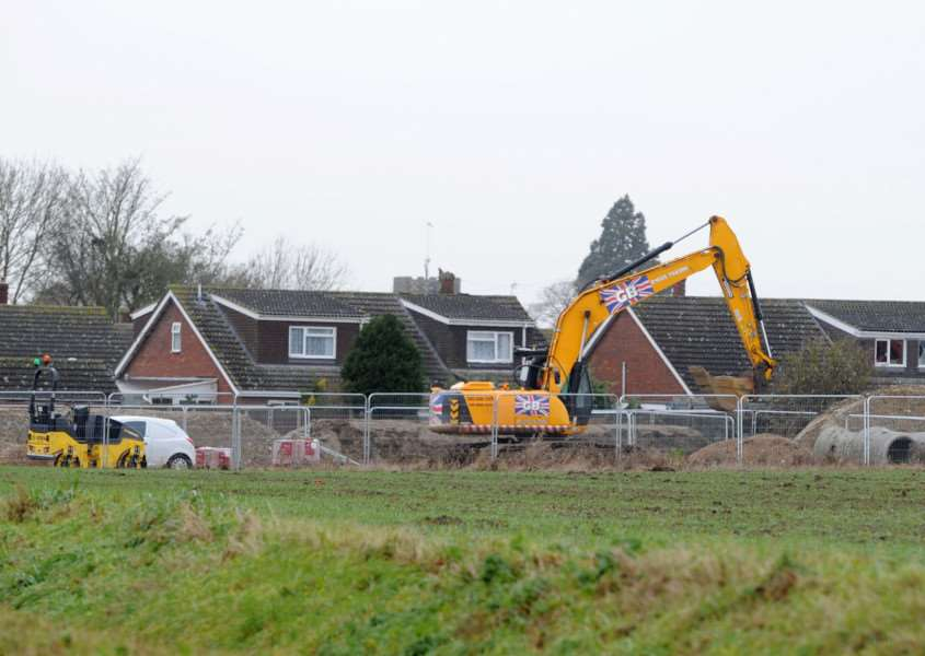 Work begins in Harvey Lane, Dickleburgh.