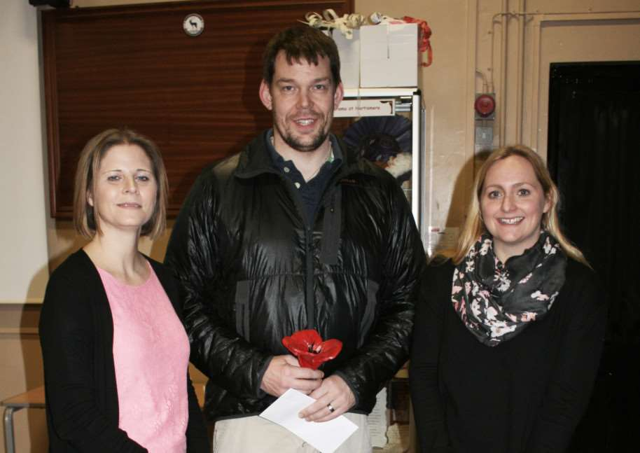 Ducan Slater, of Scole, with the head of Year 9 (L) Mrs Buttle and Art Teacher (R) Mrs Goodge at Hartismere School. ANL-150218-155945001