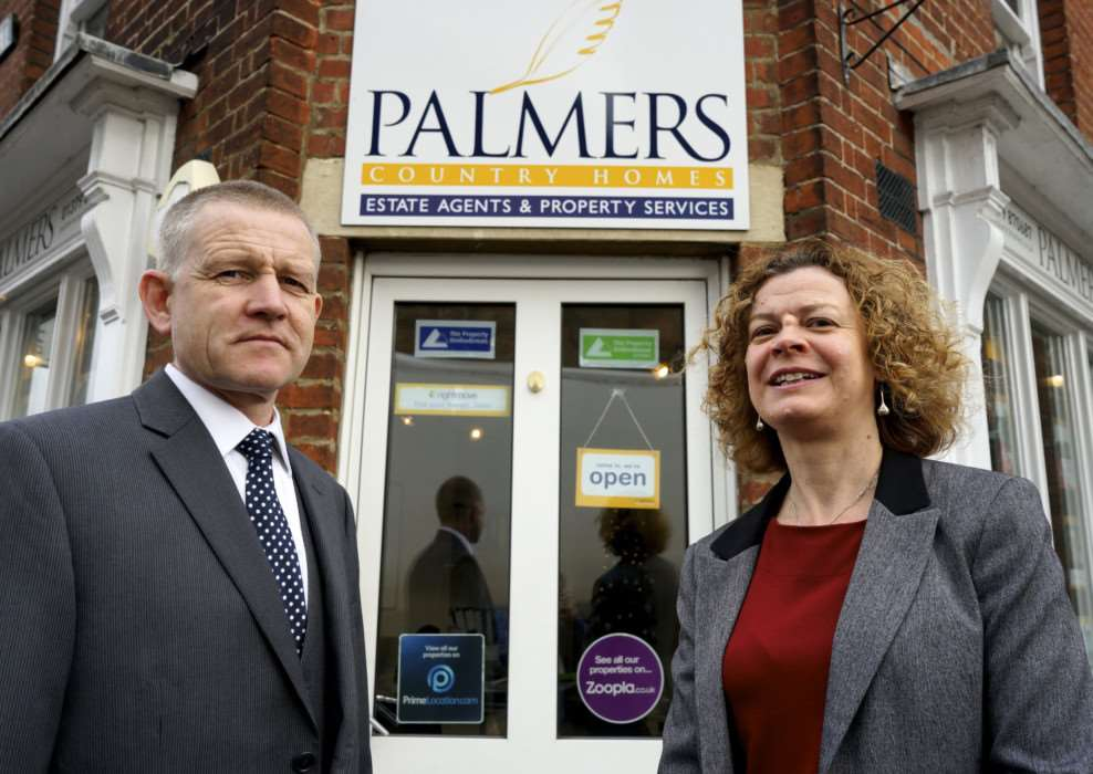 Eye, Suffolk. Potterbudd estate agents who are taking over Palmers Estate Agents in Eye pictured are Bill Potter and Julie Palmer ANL-141217-130354009