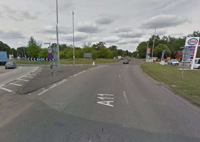The A11 approaching Fiveways roundabout