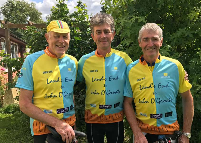 CHARITY CHALLENGE: From left - Richard Pither, Richard Anscombe and Paul Goulding, will be riding from Land's End to John O'Groats in September for four charities. Picture: Penny Anscombe.