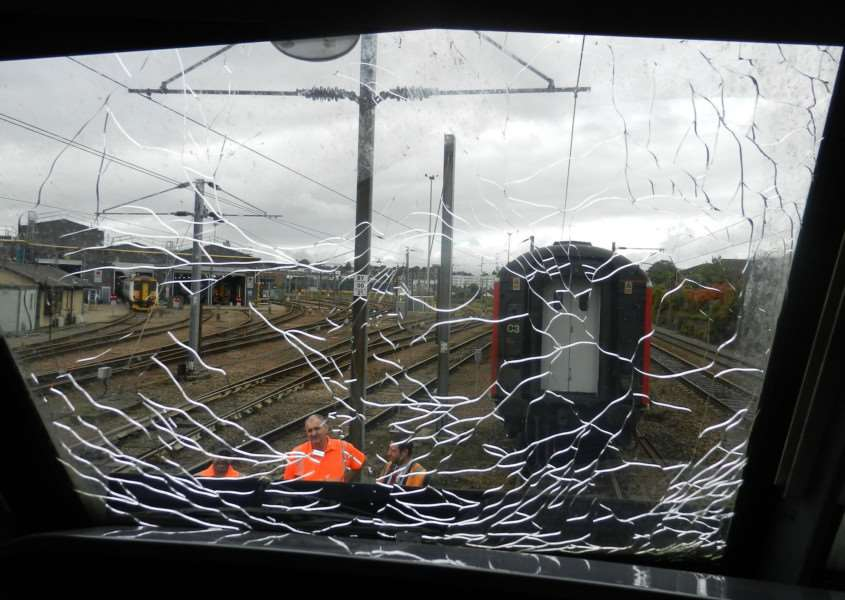 Train windows smashed near Diss railway station. Picture: Greater Anglia.