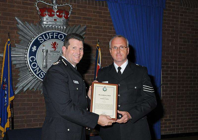 Sergeant Jonathan Turner receives the Chief Constable's Certificate of Merit at the Suffolk Constabulary Awards. His initial enquiries led to the discovery of more than 400 unlicensed firearms in Wyverstone last year. ANL-150810-124827001