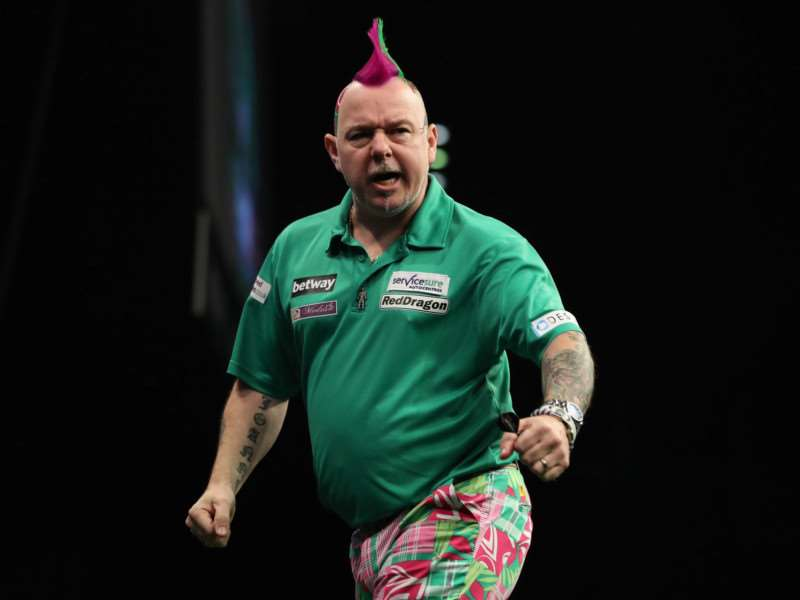 GET IN! Peter Wright celebrates during his match with Phil Taylor in Birmingham. Picture: Lawrence Lustig/PDC