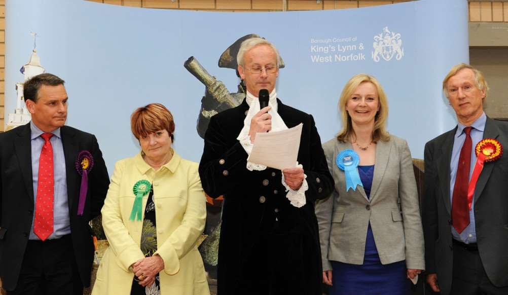 Paul Smyth (UKIP), Sandra Elizabeth Walmsley (Green), Elizabeth Truss (Conservative) and Peter David Smith (Labour) with Returning Officer Nicholas Pratt, the High Sheriff of Norfolk, photo by Paul Marsh